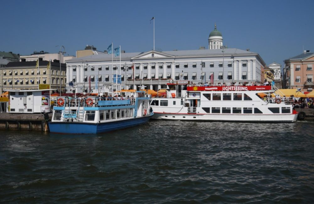 Helsinki, Finland, market place, town hall, sightseeing boats