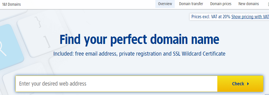 domain name registration at 1and1.co.uk