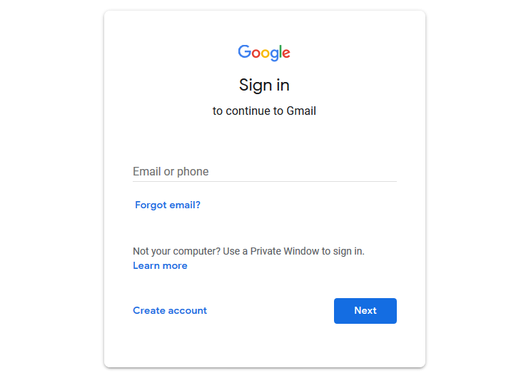 Google Gmail login screen