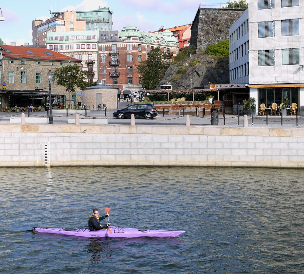 a kayak paddler in Gothenburg, Sweden
