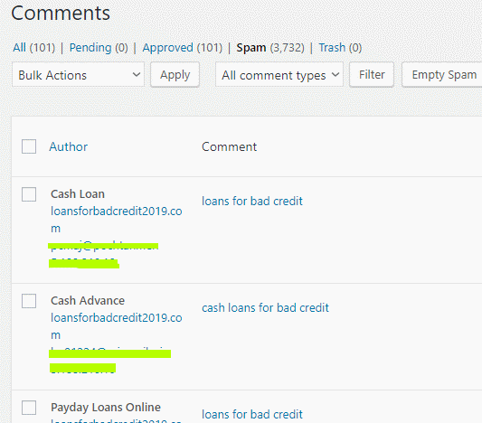 Wordpress comment panel, spam folder