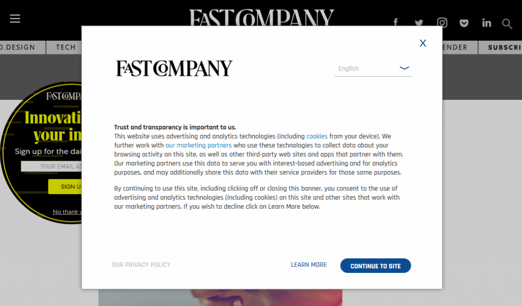 Fast Company web page with GDPR info display