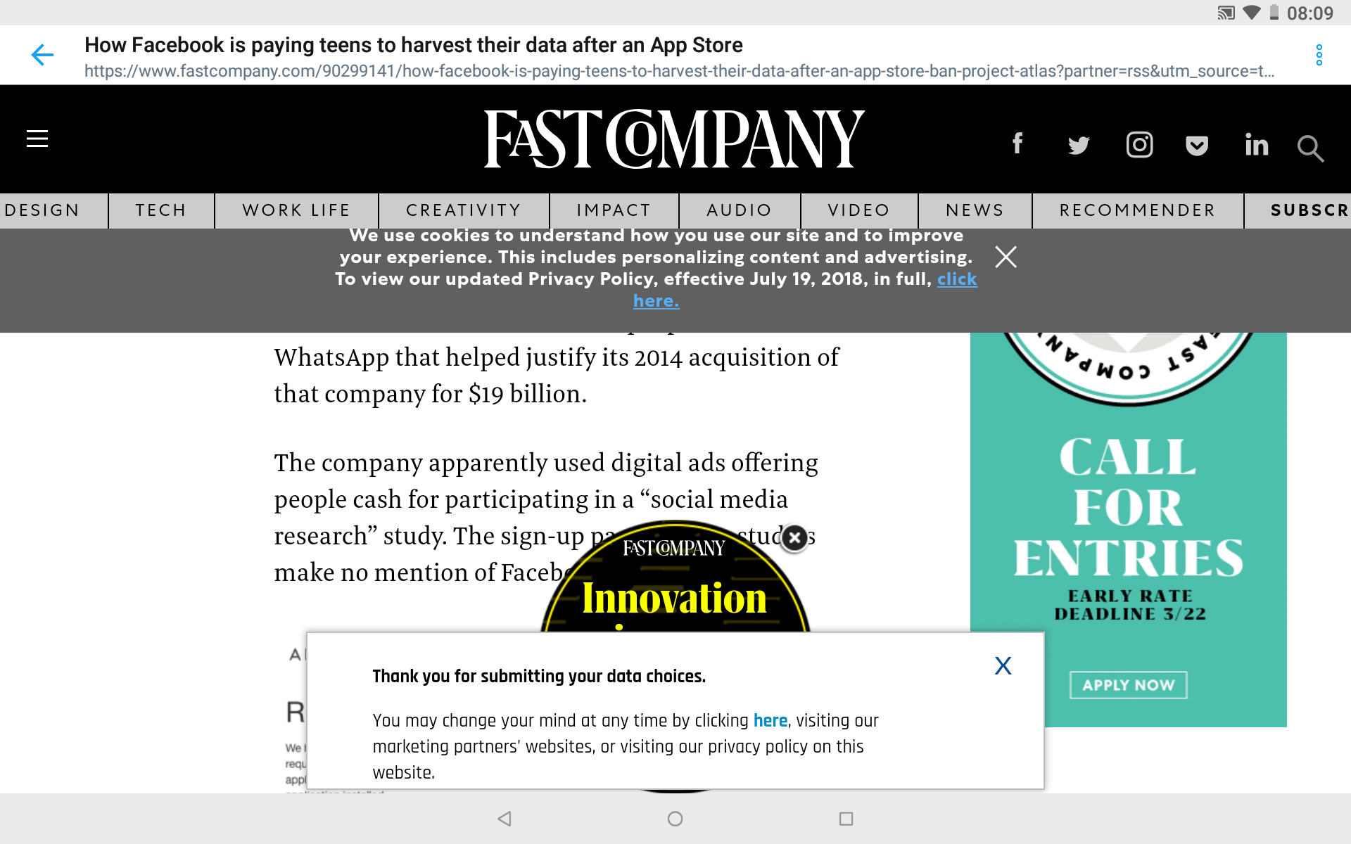web page with popup windows on high resolution tablet screen