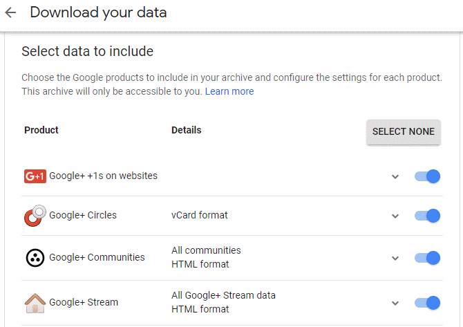 Google+ data download tool