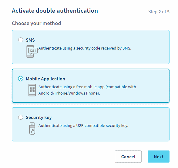 OVH double authentication options