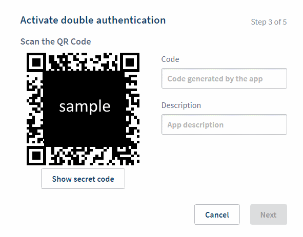 OVH double authentication QR Code