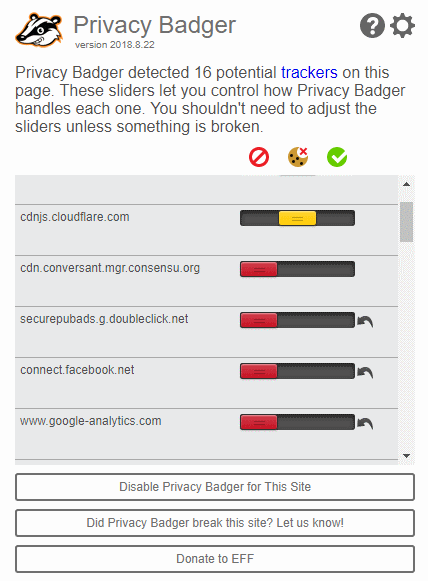 Privacy Badger privacy tool display for a web site