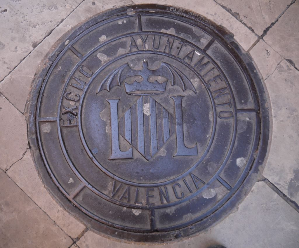 bat symbol on the street in Valencia, Spain