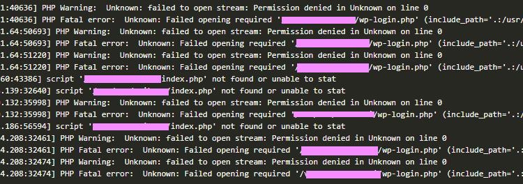 Apache error log screen shot