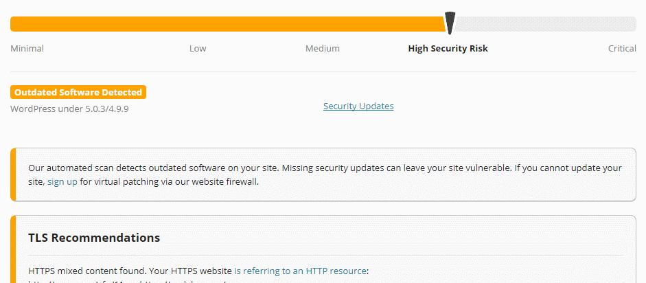 Sucuri wordpress security scan report