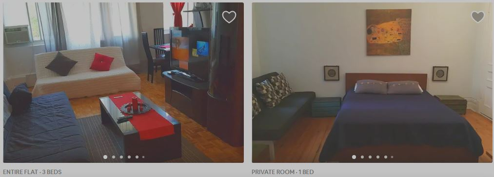 airbnb, montreal apartments, screen shot