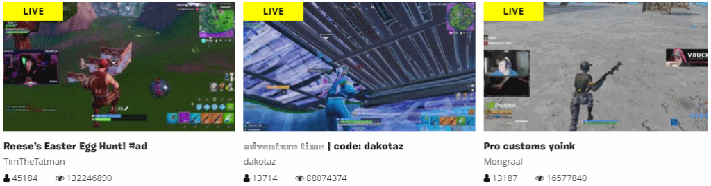 Fortnite live streams screen shot