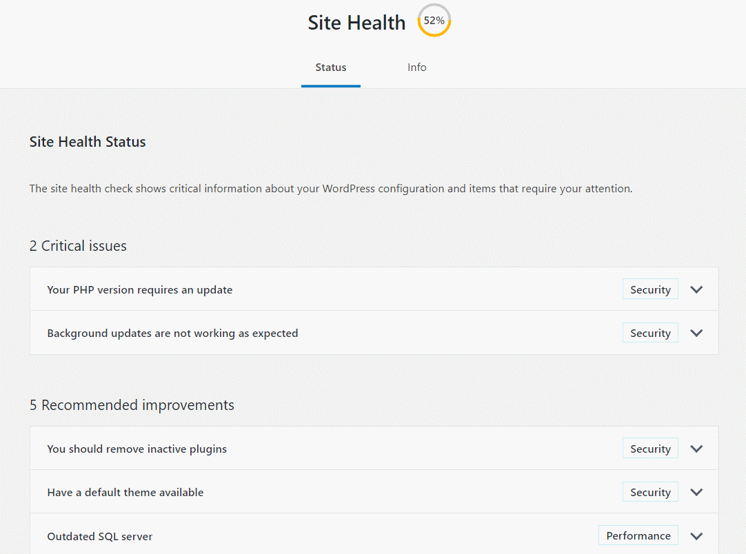 wordpress site health screen capture