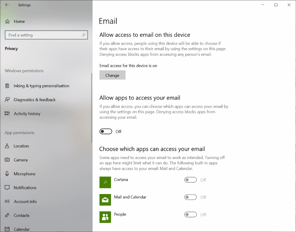 Microsoft Windows 10 privacy settings