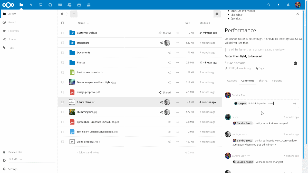 nextcloud files sync screen shot