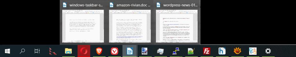 windows taskbar pop up documents