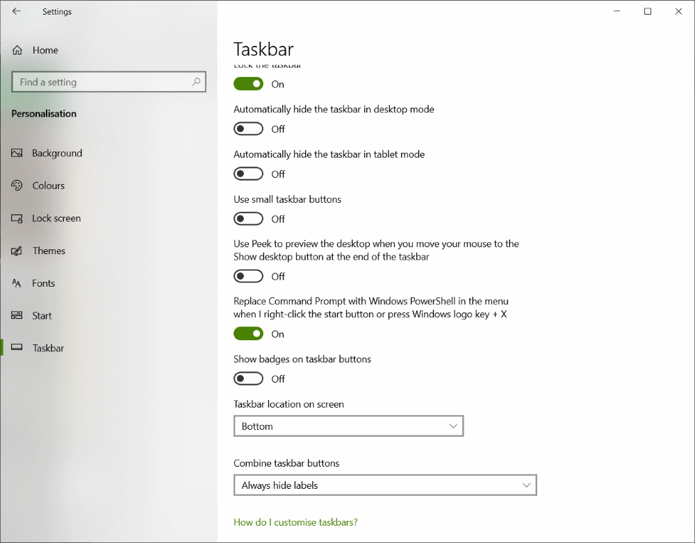 windows 10 taskbar default settings