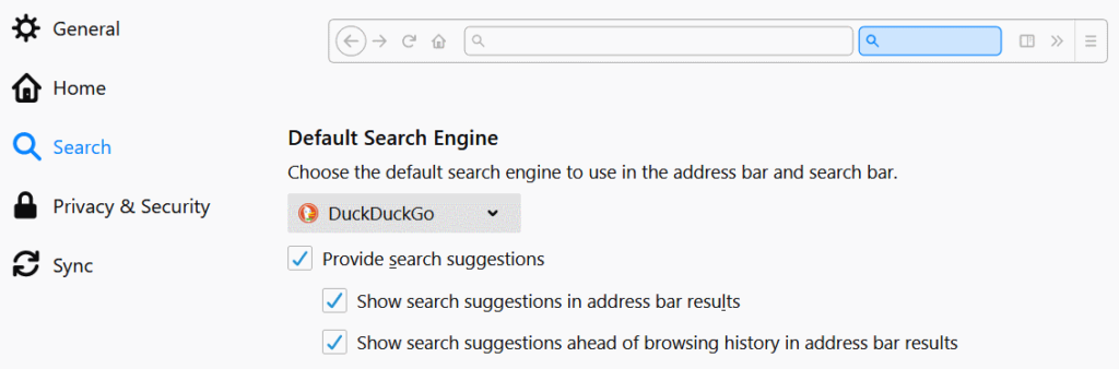 search engine options in Firefox