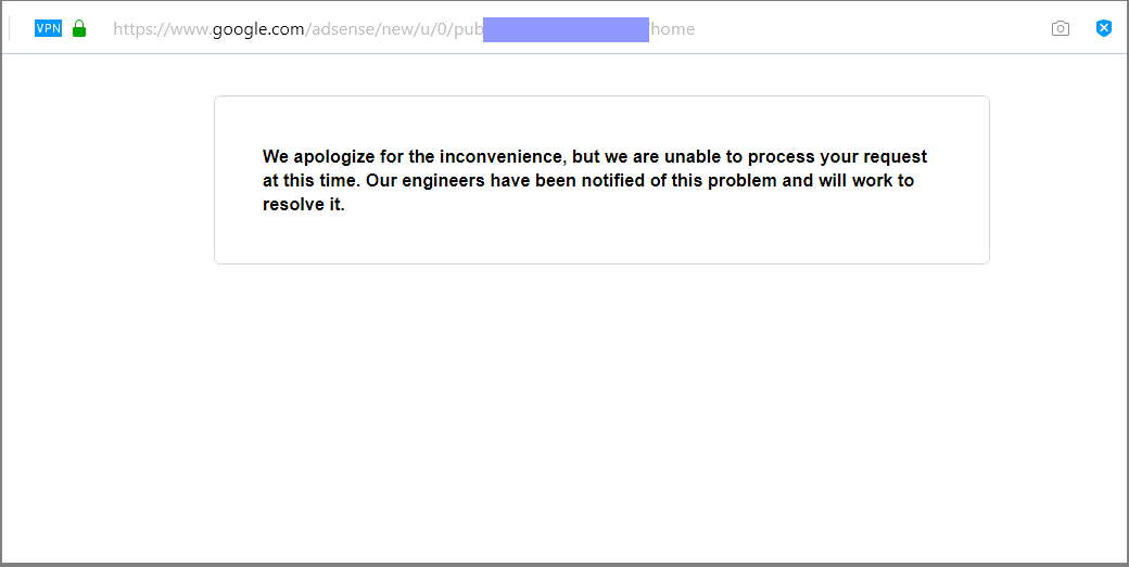 google adsense inconvenience message