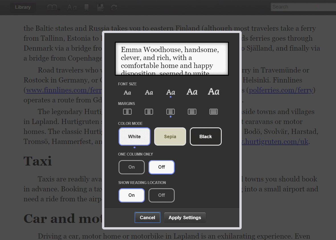 kindle ebook in web browser, options settings