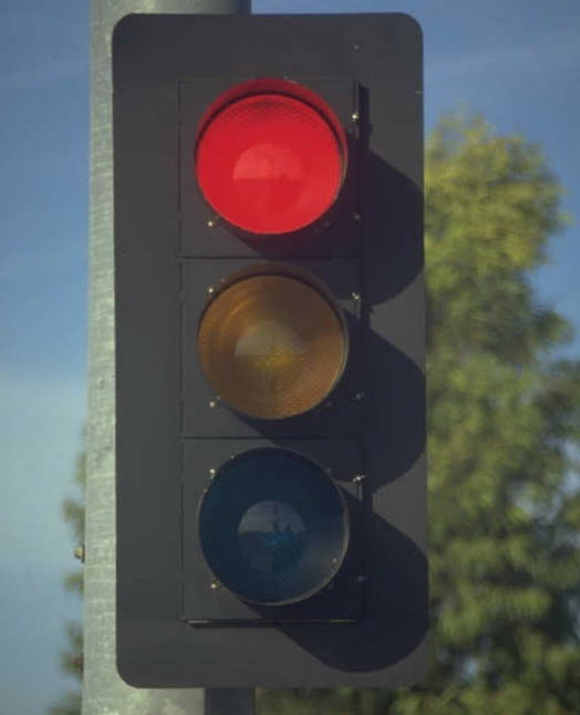 traffic lights, red turned on