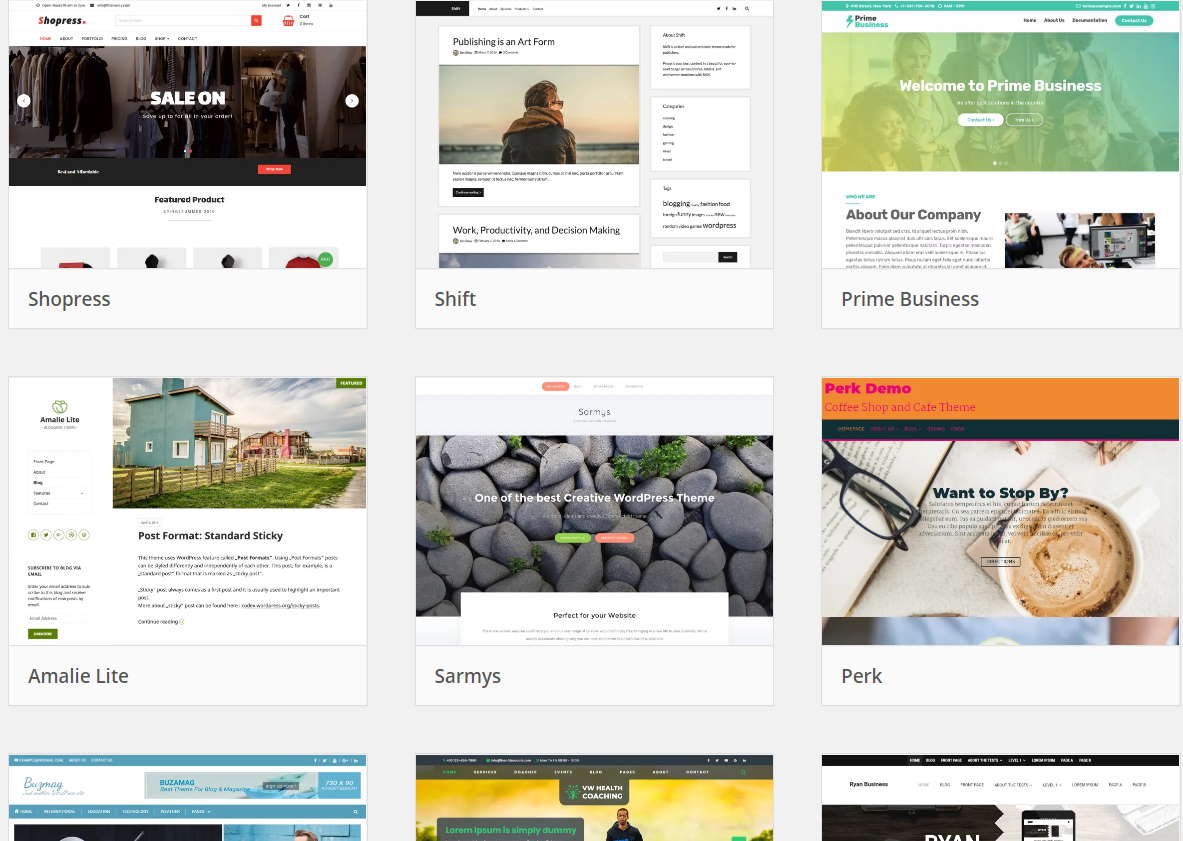 wordpress theme selection screen capture