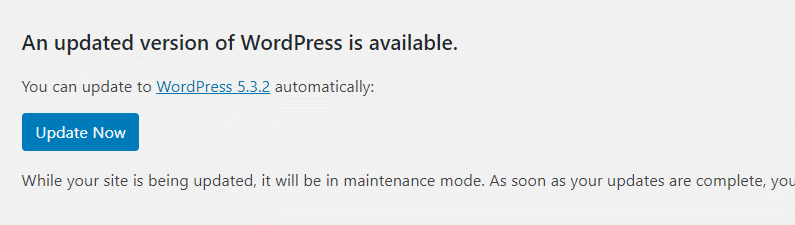 wordpress automatic update prompt