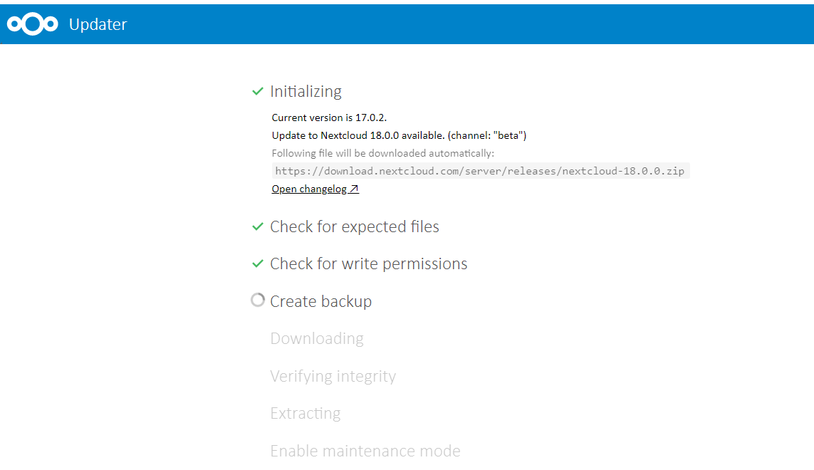 nextcloud hub update from version 17 screen shot