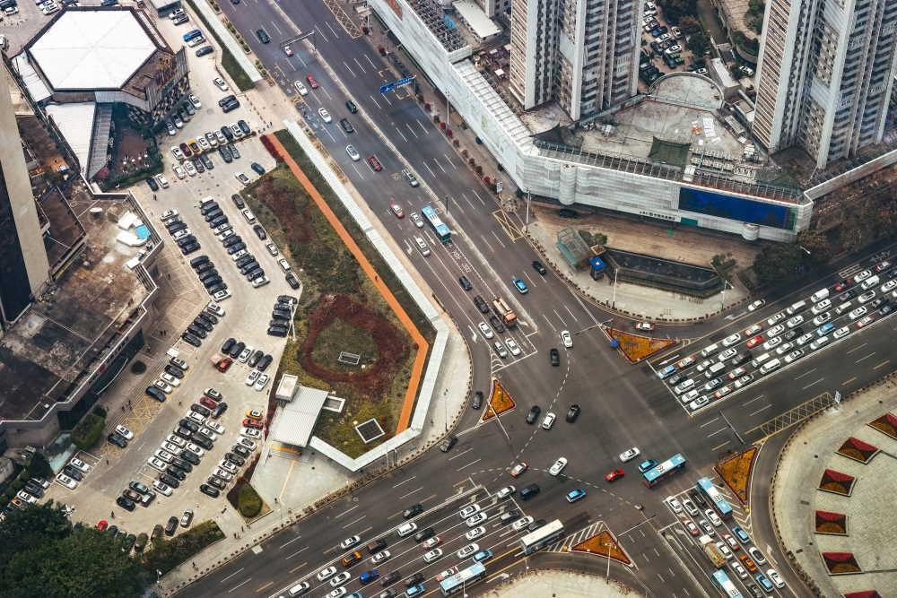 traffic crossing in shenzen, China, photo by robert Bye