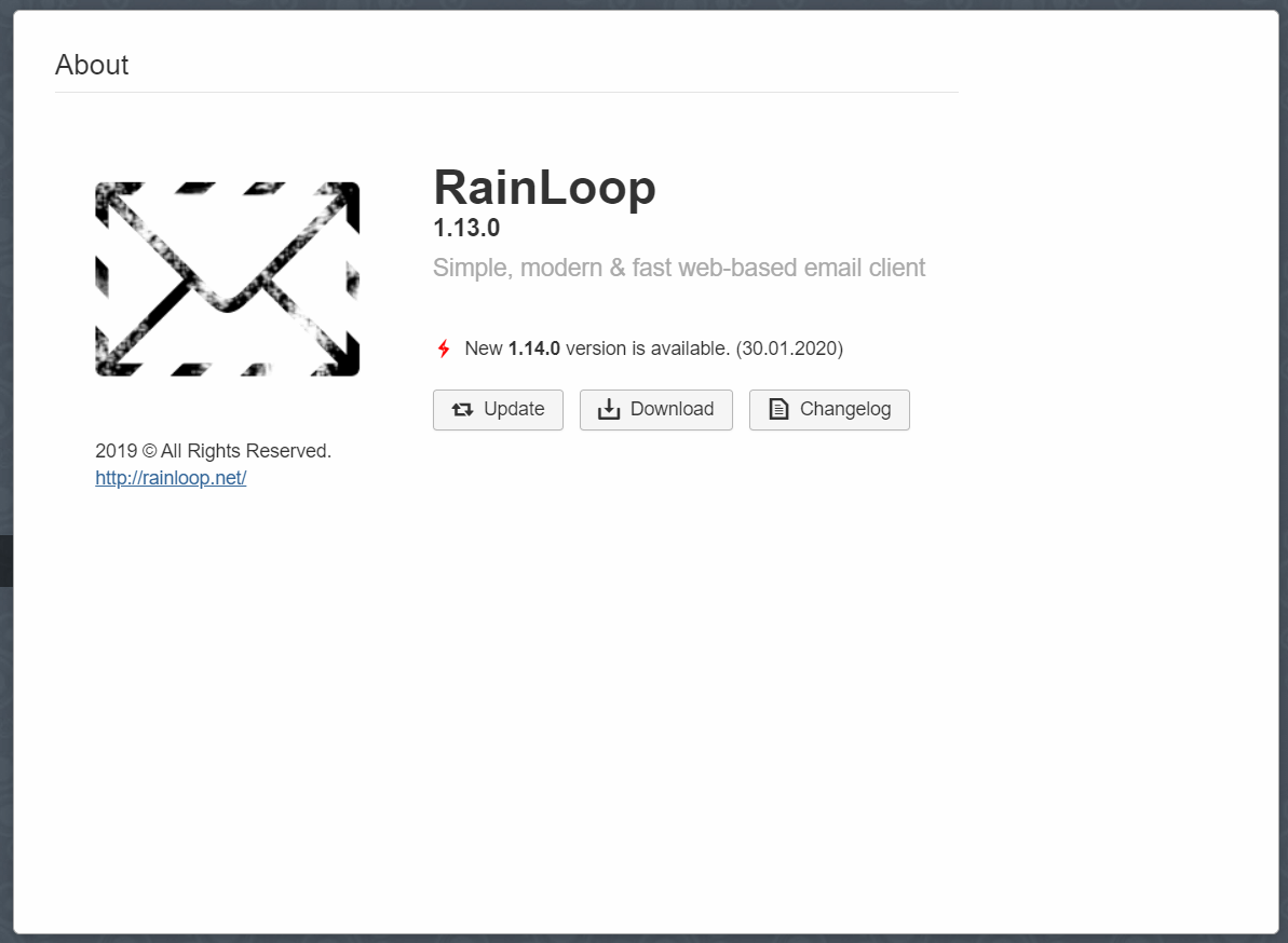 rainloop webmail update version