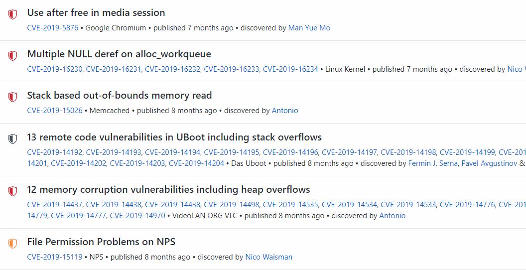 github open source sw bug listing, screen shot