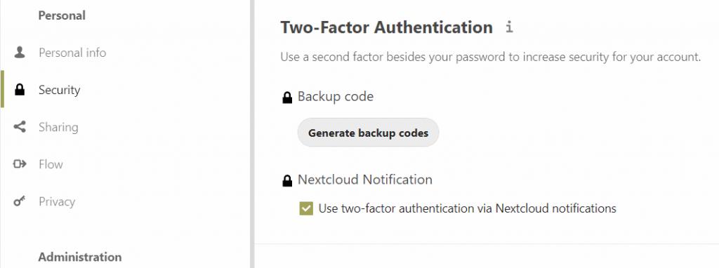nextcloud notification authentication activation