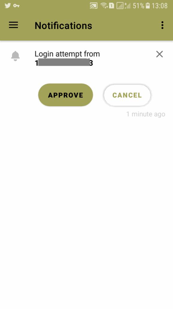 nextcloud notification login approval window on phone