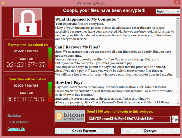ransomware screen capture: encrypted computer data, bitcoin payment