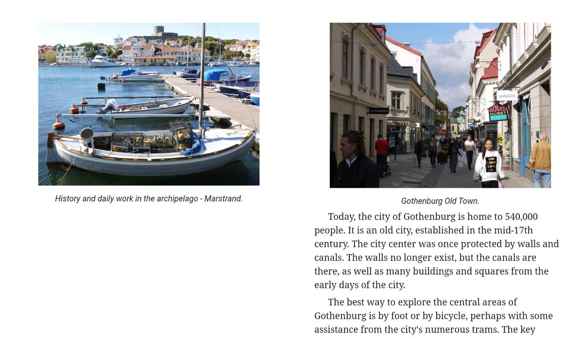 sample page from travel guide: gothenburg and sweden's west coast