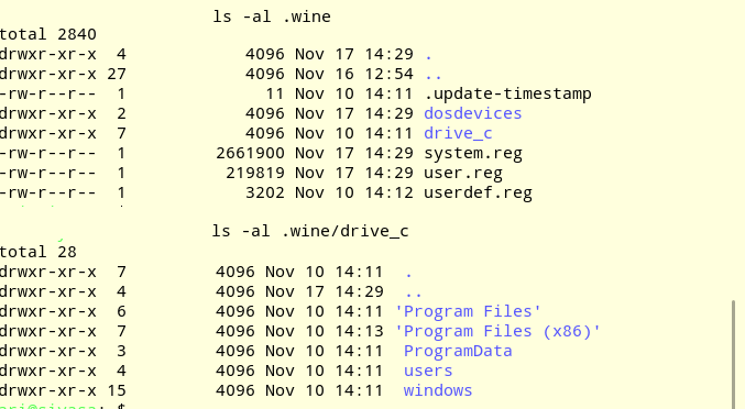 wine windows directories on linux pc
