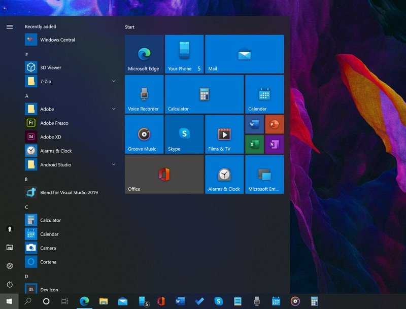 windows 10 main manu screen shot