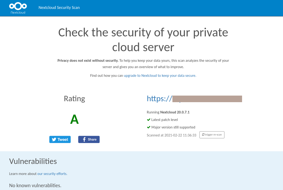 nextcloud server security scan result screen