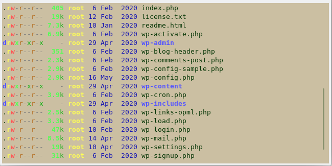 wordpress directories listed in terminal