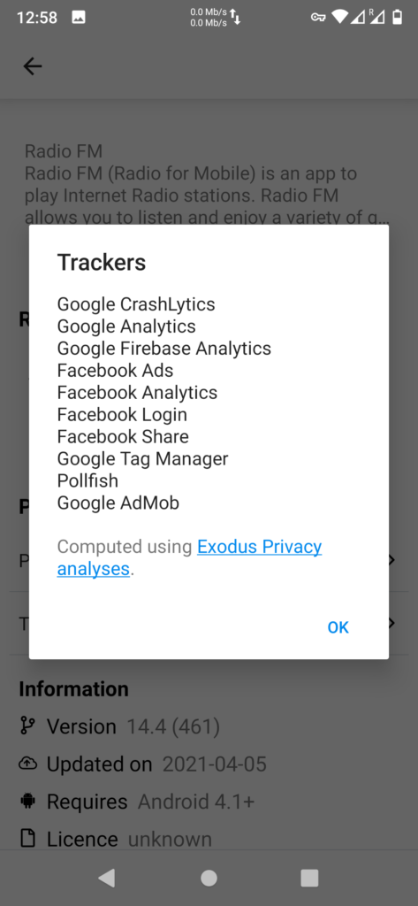 trackers discovered by /e/ app store in an app