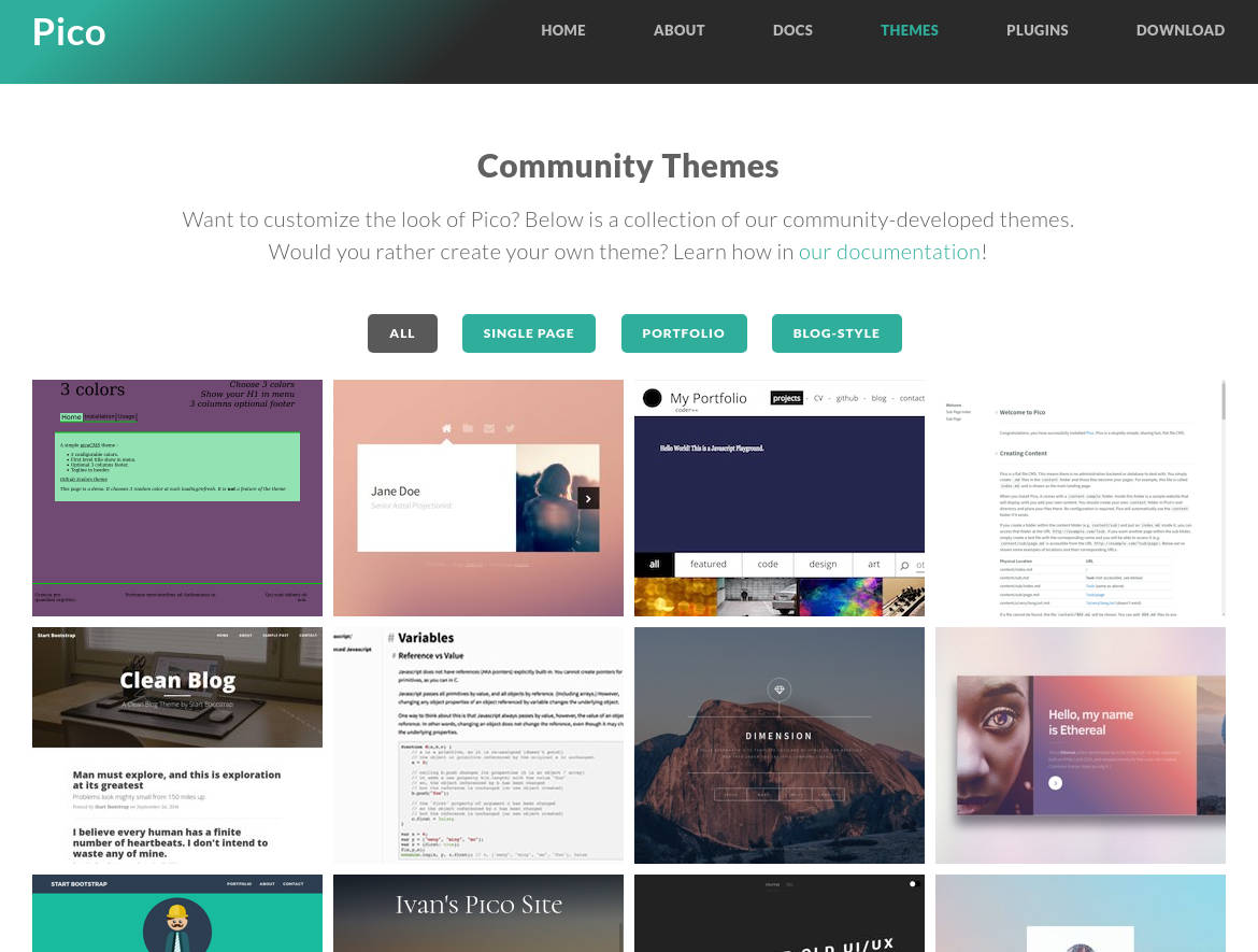 pico cms home page themes