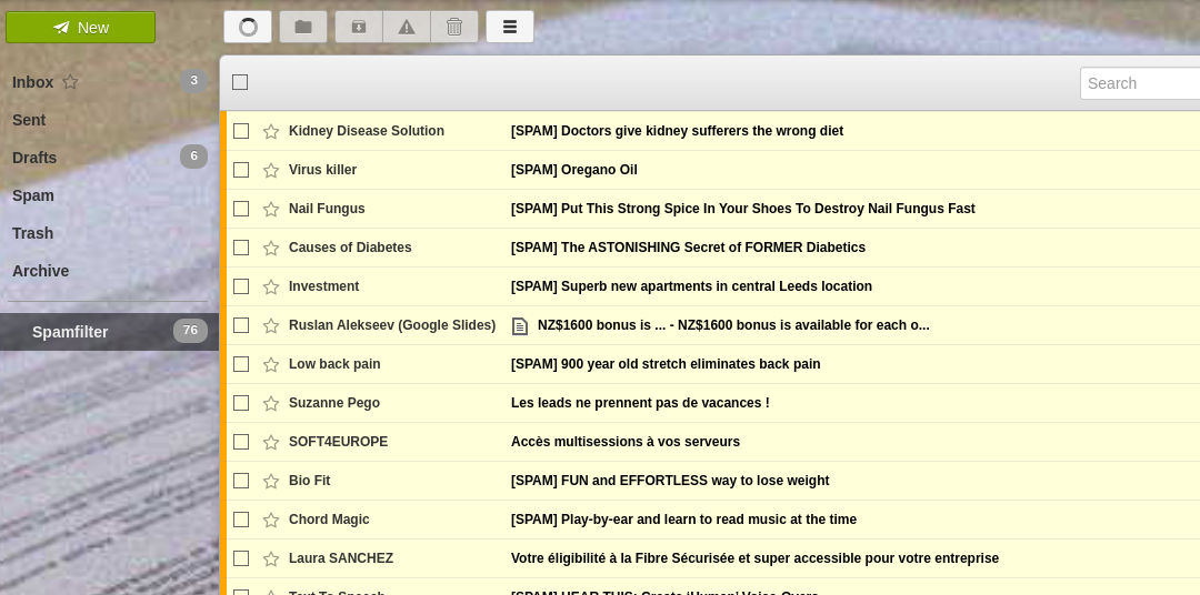 spam folder in an email system