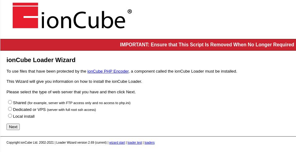 ioncube php loader setup wizard