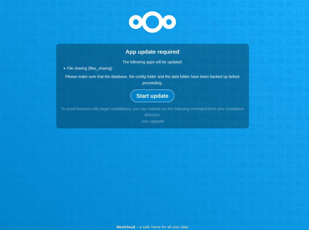 nextcloud 22 update in web browser