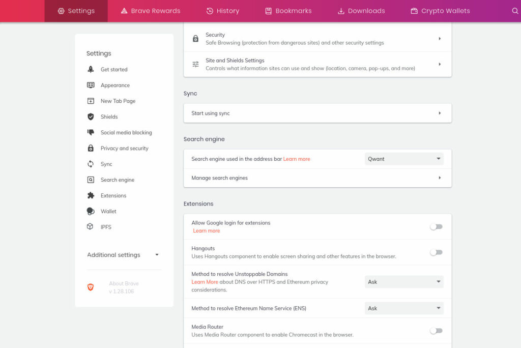 brave browser, settings page