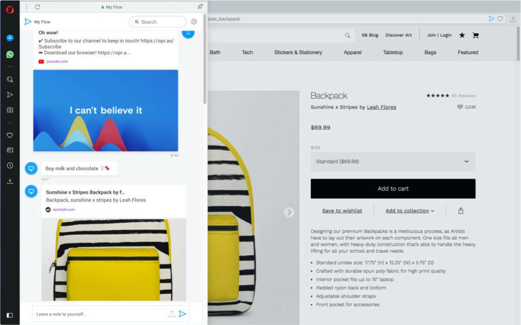 opera browser, screen shot